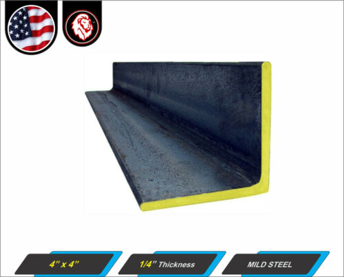 """Mild Steel Angle 4/"""" x 4/"""" 4-ft 1//4/"""" thickness 48/"""" Inch Long"""