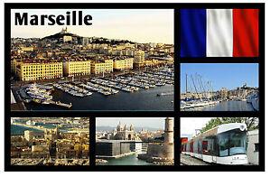 FRANCE MARSEILLE SOUVENIR NOVELTY FRIDGE MAGNET FLAGS // SIGHTS GIFT // NEW
