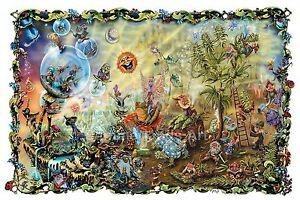Mushrooms Trippy Land Weed Sun Bong Fantasy FINE ART PRINT