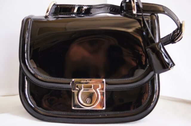 New Salvatore Ferragamo Jody Bag Evening Handbag Black Patent Leather Sale  Gift 40089872b13dd