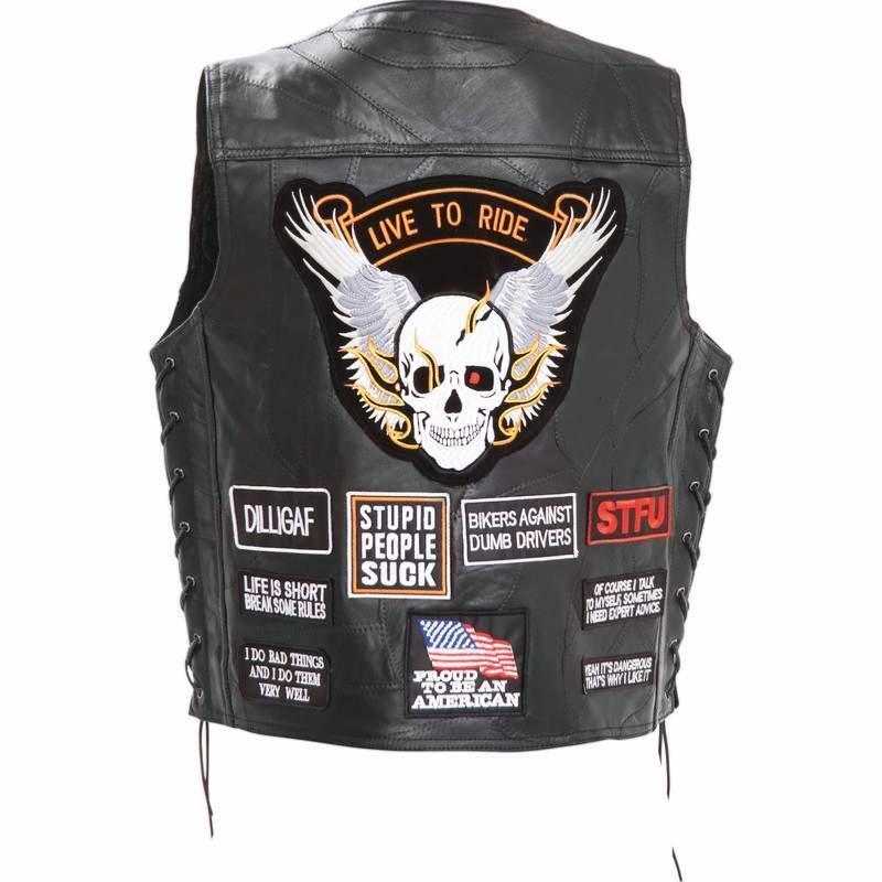 Weste Jacket Leder Patch 16 Patch Schädel - M L XL XXL XXXL - Fahrradr