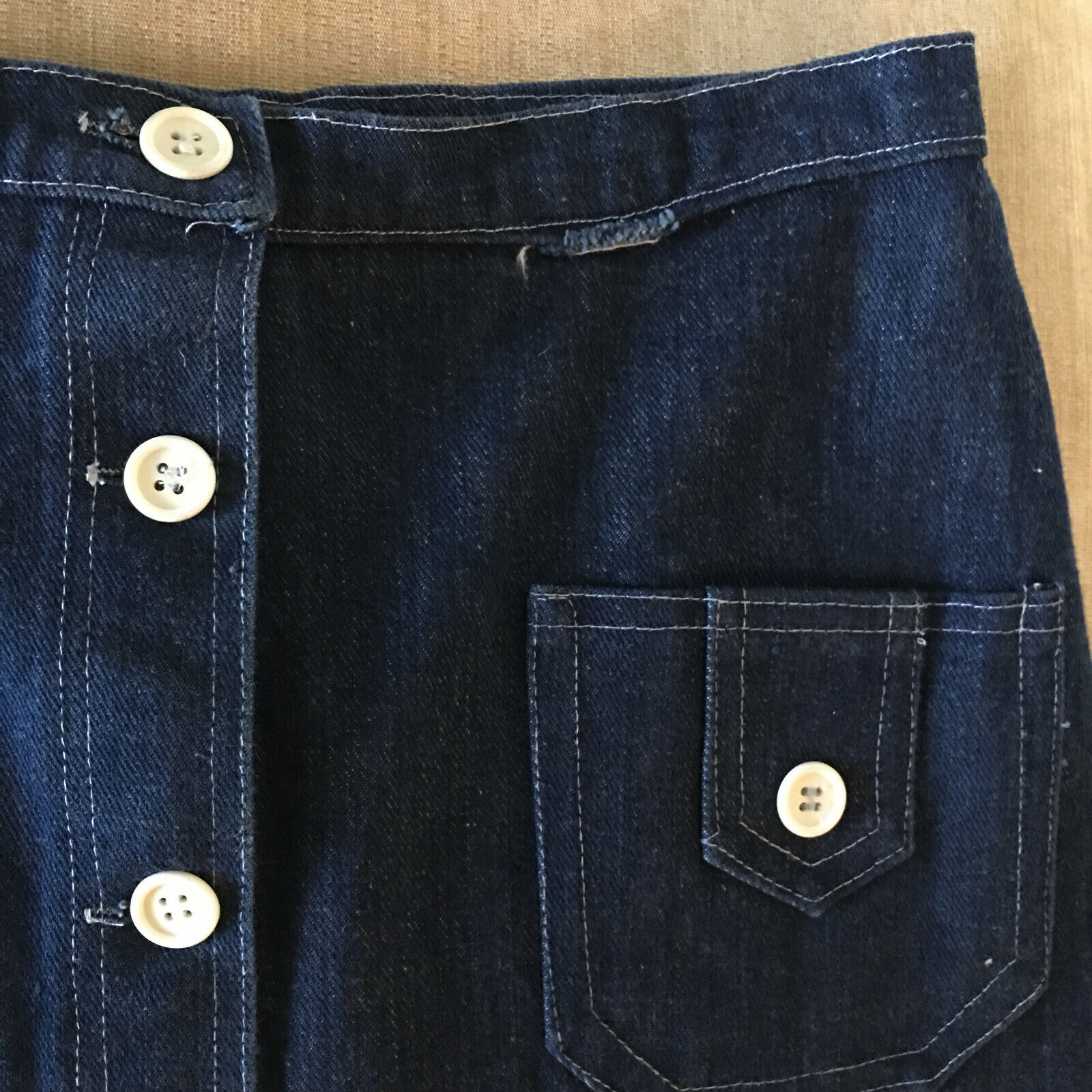 Peekaboo A-Line Vintage Inspired Denim Button Fro… - image 12