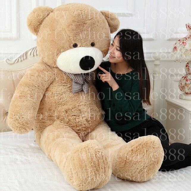 GIANT 180CM BIG CUTE PLUSH TEDDY BEAR HUGE SOFT 100% COTTON TOY handmade GF gift