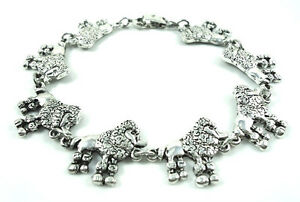 Poodle-Lovers-Antique-silver-plated-Bracelet-OR-Anklet-Choose-Your-Size
