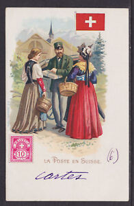 Kunzli-used-PPC-La-Poste-en-Suisse-1901-french-use-Switzerland-Letter-Carrier