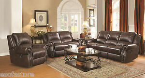 Sir Rawlinson Leather Motion Living Room Furniture Reclining Sofa ...