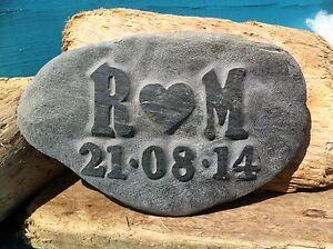 Personalised Love Pebble, hand carved, beach wedding anniversary gift, Cornwall