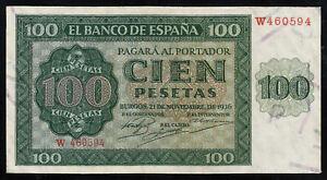 ESPANA-SPAIN-100-Pesetas-1936-Serie-W-SC-UNC