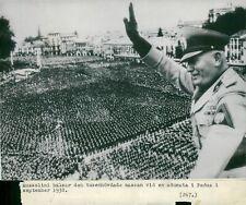 Mussolini greets the crowds at an adunata in Padua 8x10 photo