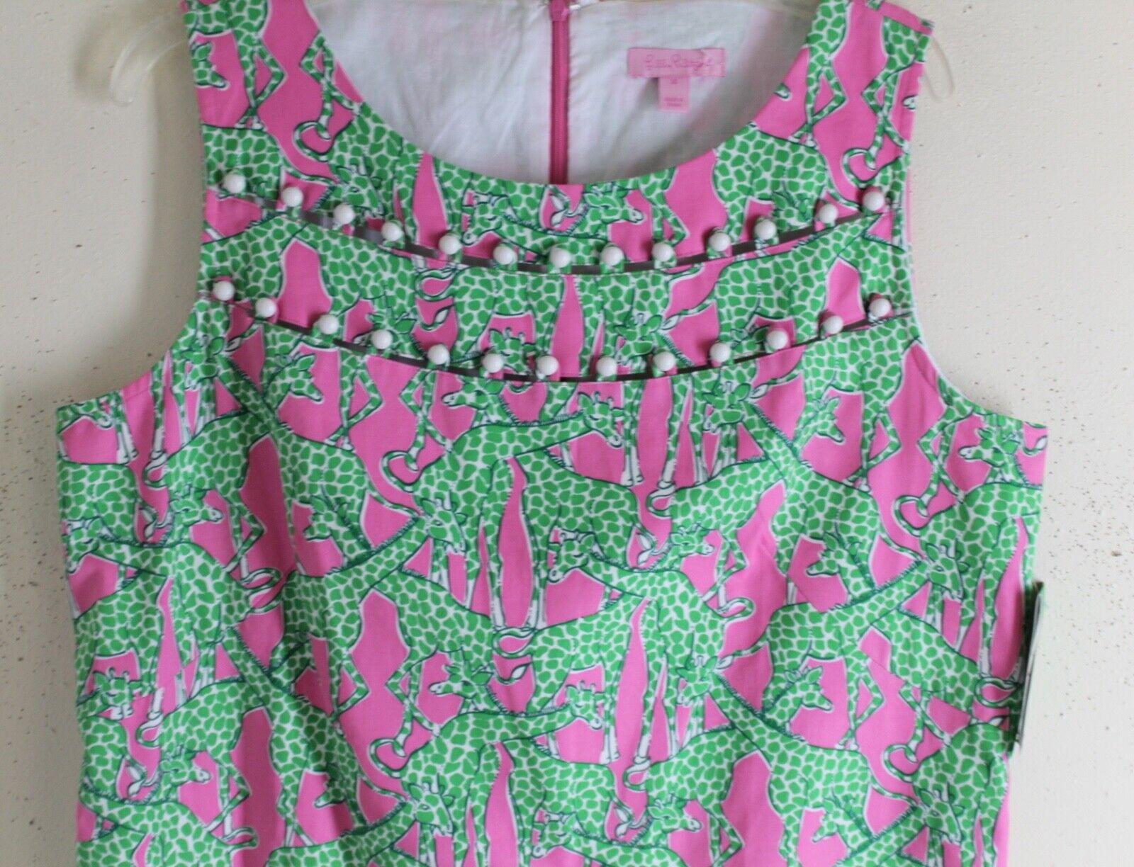 NWT Lilly Pulitzer -Sz 14 Florida Skift Giraff  konst -to -wear Cotton Dress