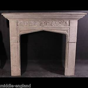 Fire surround stone effect resin tudor gothic fireplace for Tudor fireplaces
