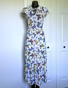 XS-OLD-NAVY-Womans-Butterfly-Print-White-Maxi-Dress