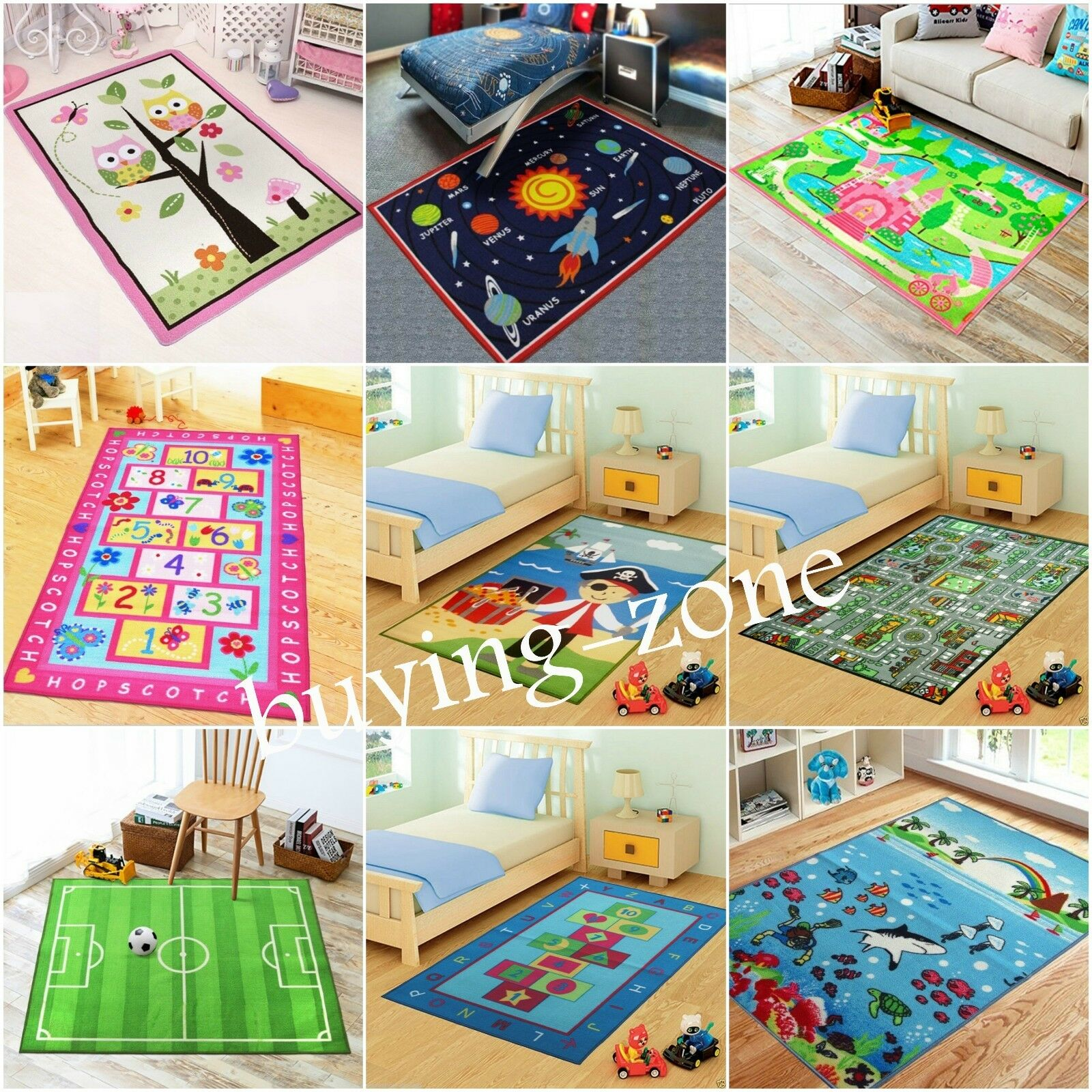 Kids rugs bedroom girls boys floor living room soft for Rugs for boys bedrooms