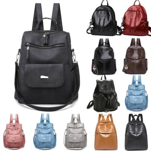 Womens Faux Leather Waterproof Rucksack Backpack School Handbag Shoulder Bags