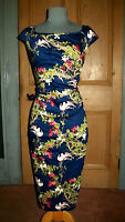 GORGEOUS JOLIE MOI (HOUSE OF FRASER) NAVY/BIRD AND FLORAL PRINT DRESS, SIZE 16