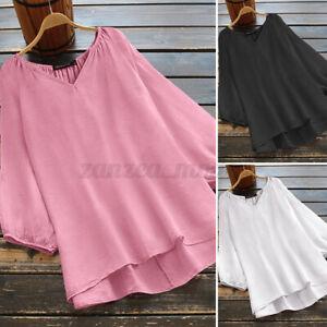 ZANZEA-Women-Lantern-Sleeve-Oversize-Tops-Holiday-Asymmetrical-Hem-Shirt-Blouse