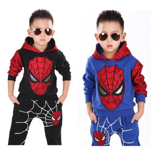 Kids Boys Cool Hooded Spiderman Superhero Sweatshirt Hoodies Pants Outfits Set