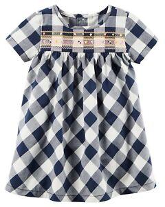 New Carter's Gingham Check Print Blue White Dress Set size 18m 24m NWT Girls