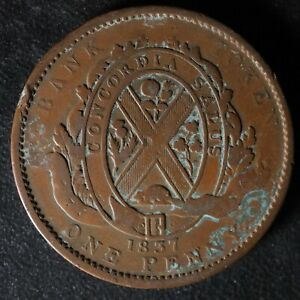 LC-9A4-One-Penny-token-Deux-sous-1837-Bas-Lower-Canada-City-Bank-Breton-521