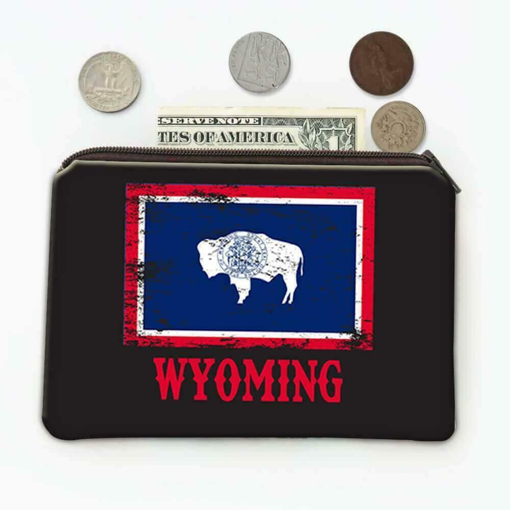 Gift Coin Purse : Wyoming Flag Distressed Souvenir State USA Christmas Coworker