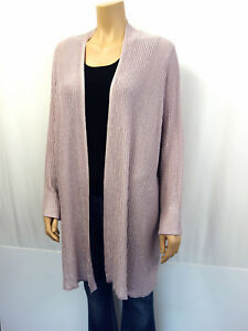 MARINA-RINALDI-Designer-Long-Strickjacke-Gr-XL-46-Cardigan-Rose-Flieder