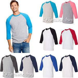 c866e49dfa8f Hanes Mens 3/4 X-Temp™ Three Quarter Sleeve Baseball T-Shirt S-3XL ...