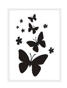 stencils wand mal textil motiv schablone schmetterlinge ebay. Black Bedroom Furniture Sets. Home Design Ideas