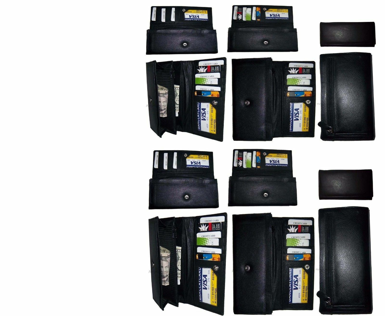 Lot of 12 New Women's checkbook wallet, Black leather Ladies checkbook wallet BN
