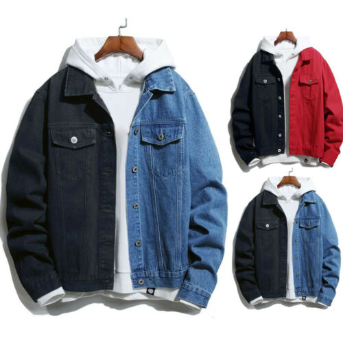 Casual Mens jacket Winter warm Denim Pocket Single Breasted Stitching Color