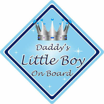 Personalised Child//Baby On Board Car Sign ~ Our Little Boy On Board ~ Blue