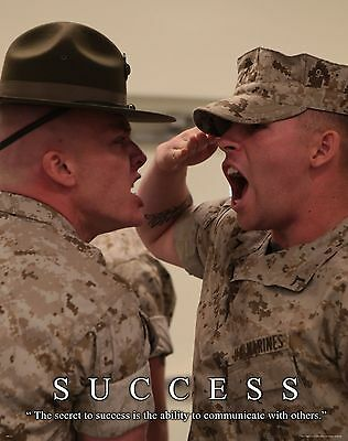 US Military Motivational Poster Marines Drill Instructor Sniper Success MILT32