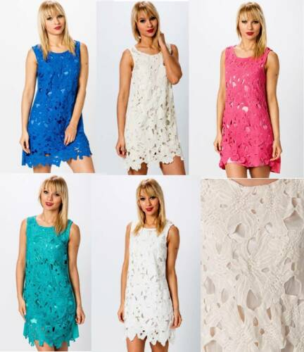 WHITE CREAM BLUE TURQUOISE PINK CUT OUT LACE EFFECT DRESS ONE SIZE FITS 8 TO 12