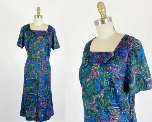 1950s Dress - 50s abstract dress  - 50s dress - Si
