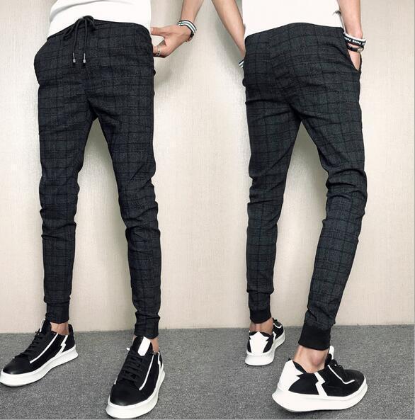 Men's Slim Trousers Elastic Waist Harem Casual Skinny Cotton Blend Long Pants