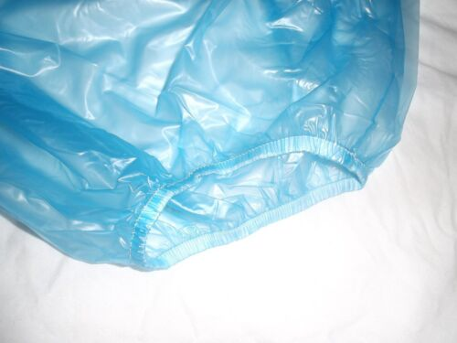 "SIZE L LARGE ADULT BABY BLUE PLASTIC PANTS 30/""-36/"" WAIST APPROX"