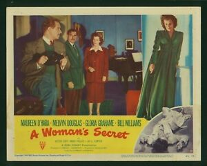 A-Woman-039-s-Secret-original-1949-lobby-card-11x14-Melvyn-Douglas-Maureen-O-039-Hara