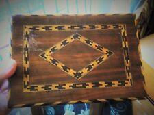 VECCHIO IN LEGNO TUNBRIDGE? intarsiati Cigar Box sezione interna Chevron GEOMETRIC Design