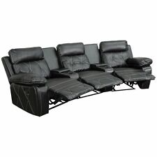 Flash Furniture 3 Seat Leather Reclining Home Theater Seating in Black