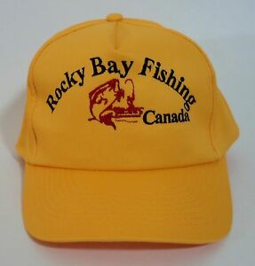 6a5cb5b19f7ee Details about New Rocky Bay Fishing Canada Snap Back Ball Cap Trucker Hat  Gold Red and Black