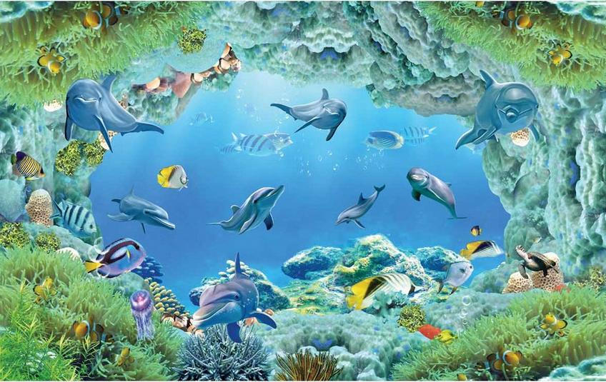 3D 3D 3D Blau Dolphins Sea 78 Floor WallPaper Murals Wall Print Decal AJ WALLPAPER US 03f6b5