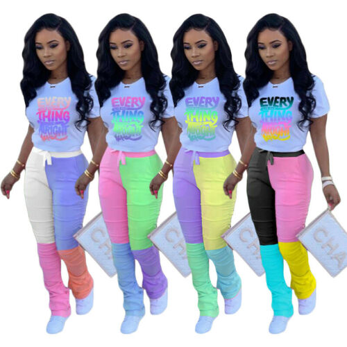 NEW Women Stylish Short Sleeves O Neck Color Patchwork Letter Print Jumpsuit2pcs