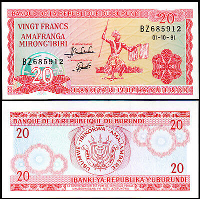 BURUNDI 20 Francs 1973 P-21b UNC Uncirculated