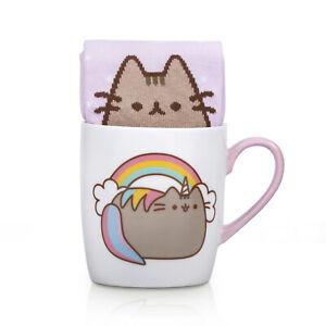 Socken-Pusheen-Katze-Einhorn-mit-Kaffeebecher-Struempfe-Kaetzchen-suess-1x-Paar