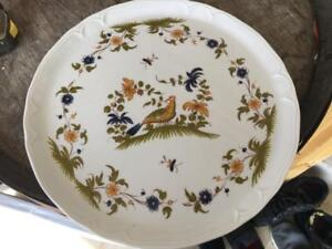 Large-Porcelain-Cake-Plate-Peacock-Green-Blue-Hand-Painted-Made-France