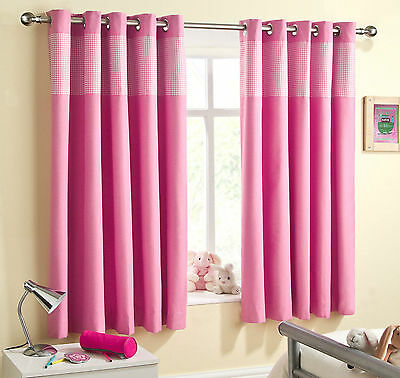 Sweetheart Childrens Kids Gingham Check Thermal Blackout Eyelet Curtains, Pink