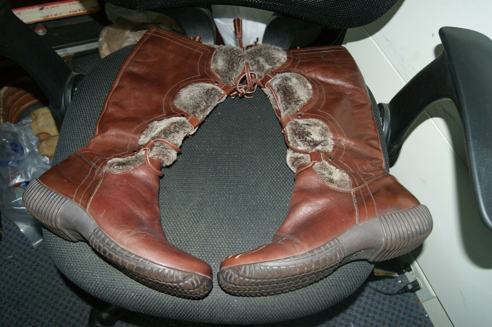 Steve Madden Denmark Leather & Faux Fur brown  Boots Size 10b