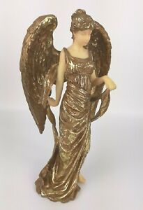 Vintage-Gold-Angel-Figurine-SANSCO-1996-christmas-gift-faith-statue-9-5-034-tall