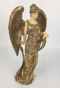 "Vintage Gold Angel Figurine SANSCO 1996 christmas gift faith statue 9.5"" tall"