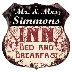 BPLI0103-Mr-amp-Mrs-SIMMONS-INN-Bed-amp-Breakfast-Custom-Personalized-Tin-Sign