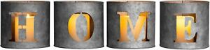 MyGift Galvanized Metal Cutout Home Tealight Candle Holders